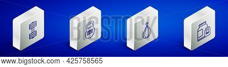 Set Isometric Line Dumbbell, Kettlebell, Punching Bag And Sports Nutrition Icon. Vector