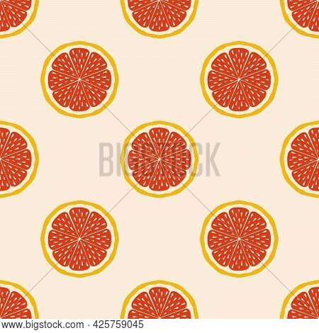 Sicilian Orange On A Cut. Grapefruit Wedges. Exotic Seamless Pattern. Prints For Fabrics, Decorative