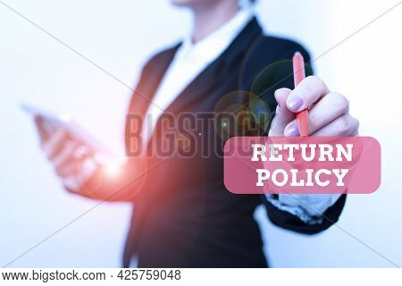 Conceptual Caption Return Policy. Business Overview Tax Reimbursement Retail Terms And Conditions On