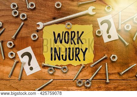 Text Showing Inspiration Work Injury. Concept Meaning Accident In Job Danger Unsecure Conditions Hur