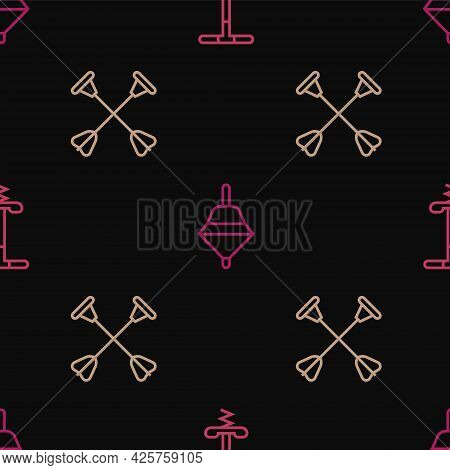 Set Line Pogo Stick Jumping Toy, Arrow With Sucker Tip And Whirligig On Seamless Pattern. Vector