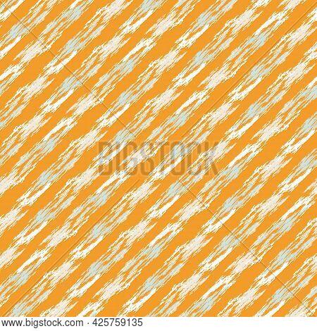 Summer Tropical Broken Stripe Seamless Pattern. Bright Retro Geo Line For Digital Scrapbook Paper An