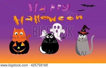 Happy Halloween Banner Or Party Invitation Background With Cats Pumpkin Haunted Spider Hat. Hallowee