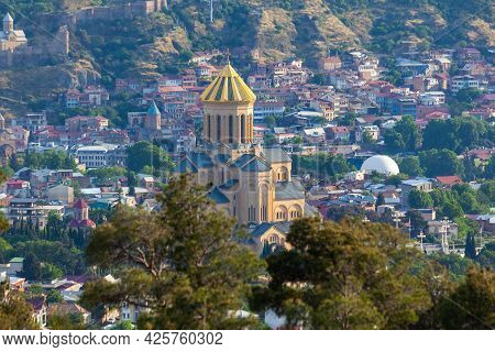 View Of Tbilisi With Sameba, Trinity Church And Other Landmarks