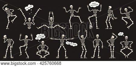 Halloween Skeletons. Dancing Skeletons, Spooky Halloween Party Skeleton Mascots Isolated Vector Illu