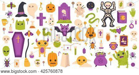 Halloween Elements. Hand Drawn Halloween Pumpkin, Gravestone, Ghost And Bat Isolated Vector Symbols