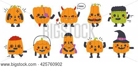 Cute Pumpkin Mascots. Halloween Party Funny Pumpkins With Different Faces Isolated Vector Symbols Se