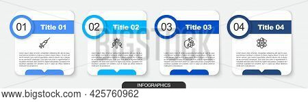 Set Line Syringe, Experimental Insect, Biological Structure And Atom. Business Infographic Template.