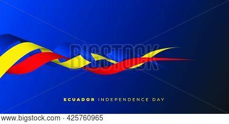 Ecuador Independence Day With Waving Ribbon Design. Good Template For Ecuador National Day Design.