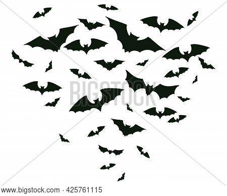 Halloween Flying Bats. Spooky Bats Flock, Creepy Horror Vampire Winged Animal Vector Background Illu