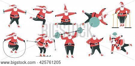 Exercising Santa Claus. Sporty Cute Santa Character, Winter Holidays Symbol Doing Fitness Exercises
