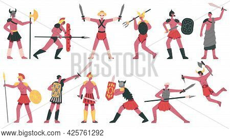 Roman Gladiator Characters. Ancient Roman Warlike Gladiators, Martial Greek Fighters Cartoon Isolate