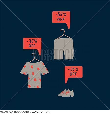 Advertising Vector Illustration Of Black Friday. The Concept Of Clothing And Things At A Discount On