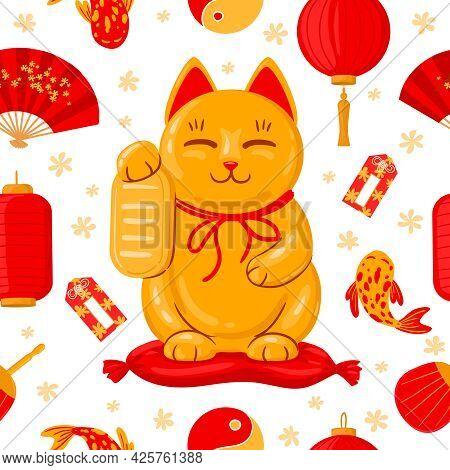 Japanese Maneki Neko Banner. Good Luck Japan Traditional Cat, Cute Kawaii Lucky Maneki Neko Cartoon