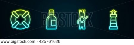 Set Line Lifebuoy, Alcohol Drink Rum, Decree, Parchment, Scroll And Lighthouse. Glowing Neon Icon. V