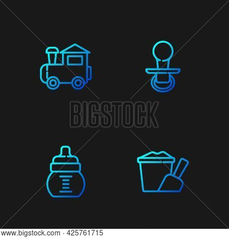 Set Line Sand In Bucket With Shovel, Baby Bottle, Toy Train And Dummy Pacifier. Gradient Color Icons