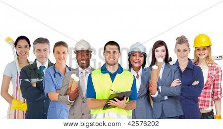 Group of smiling people with different jobs standing in line on white background
