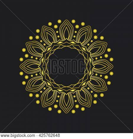 Rounded Mandala Design Element. Vector Boho Mandala In Gold Color . Mandala With Floral Patterns.