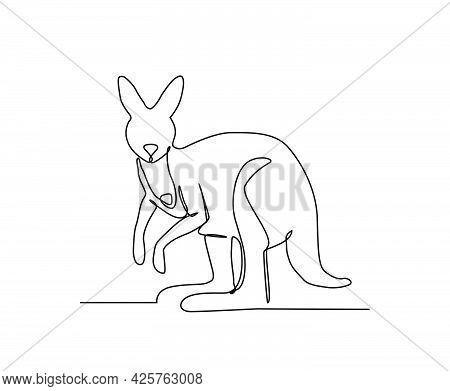 Kangaroo Continuous Line Art Drawing Style. Minimalist Black Kangaroo Outline. Editable Active Strok