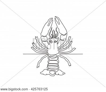 Lobster Continuous Line Art Drawing Style. Minimalist Black Lobster Seafood Outline. Editable Active