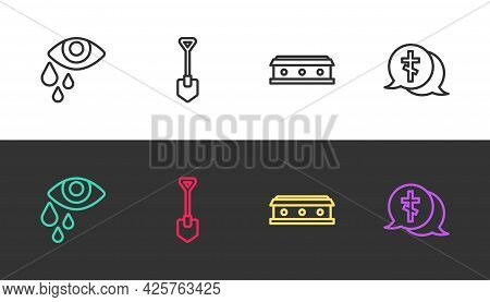 Set Line Tear Cry Eye, Shovel, Coffin With Cross And Grave On Black And White. Vector