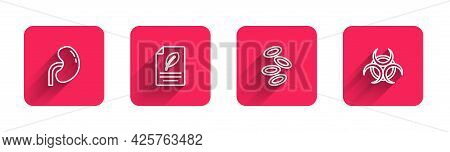 Set Line Human Kidney, Eco Paper With Leaf, Hemoglobin And Biohazard Symbol With Long Shadow. Red Sq