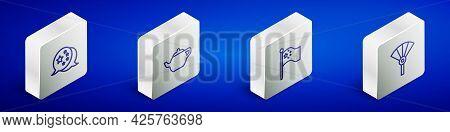 Set Isometric Line China Flag, Chinese Tea Ceremony, Flagpole And Or Japanese Folding Fan Icon. Vect