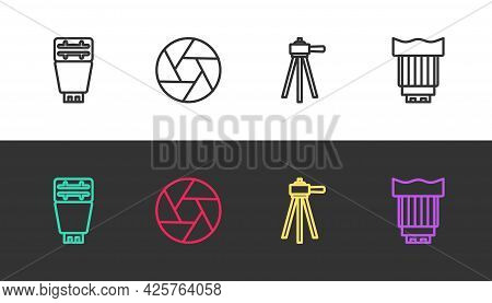 Set Line Photo Camera Flash, Camera Shutter, Tripod And Photo Lens On Black And White. Vector