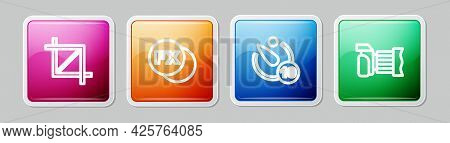 Set Line Picture Crop Photo, Photo Camera Fx, Camera Timer And . Colorful Square Button. Vector