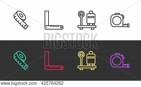 Set Line Measuring Tape, Corner Ruler, Scale With Suitcase And Roulette Construction On Black And Wh