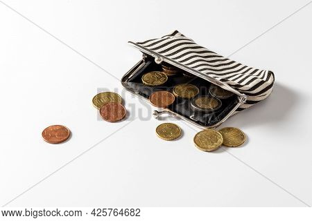 A Wallet With A Change. Poverty Concept. Rich And Poor. Below The Poverty Line. Low Income.