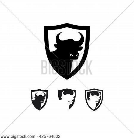 Bull Buffalo Head Cow Animal  Mascot Logo Design Vector For Sport Horn Buffalo Animal Mammals Head L