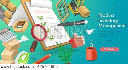 3d Vector Conceptual Illustration Of Product Inventory Management, Warehouse Optimization