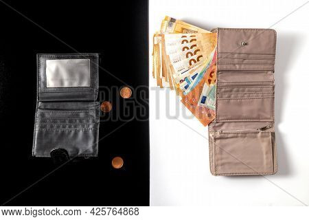 Money. Cash. Euro Bills In The Wallet. Coins, Cents And An Empty Wallet. Black And White Stripe In L