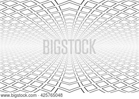 Abstract Geometric Architectural Background. Diminishing Perspective View. Vector Art.