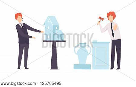 Set Of People Bidding In Public Auction, Buyers And Auctioneer Selling Artworks Flat Vector Illustra