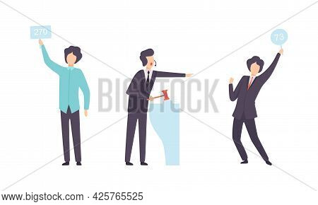 People Bidding In Auction, Buyers And Auctioneer Selling And Buying Artworks Flat Vector Illustratio