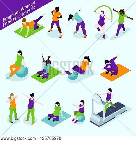 Pregnant Women Fitness Icons Set. Pregnant Women Fitness Vector Illustration. Pregnant Women Fitness