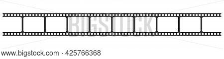 Film Strip Isolated On Transparent Background. Realistic Photo Frame. Vintage Retro Cinema Movie Fil