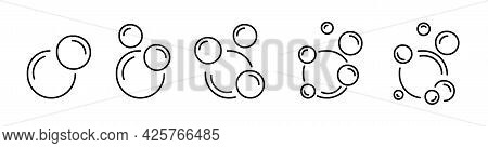 Bubbles Flat Line Icon Collection. Soap Foam, Fizzy Drink Symbol Sign. Outline Simple Water Bubble P