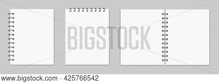Notebook Mockup. Collection Of Various White Papers For Your Text. Blank Pages Of A Notebook With Ma