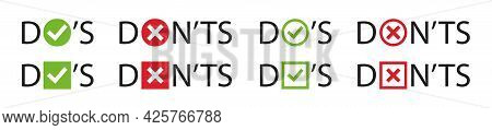 Do And Don't, Check Mark And Cross Vector Icons Set. Vector Do's And Don'ts Checklist Symbols In Cir