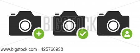 App Photo Icon. Camera Icon With Plus, Checkmark And User Interface Button. Pictogram For Website De