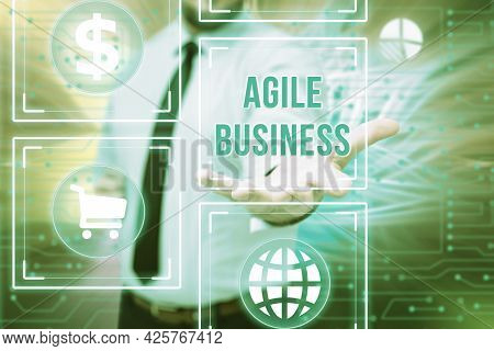 Sign Displaying Agile Business. Word Written On Capability Of Adjusting Quickly To The Market S Is T
