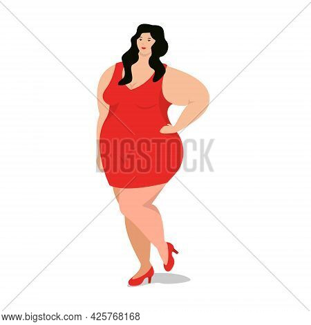 Attractive Overweight Woman Is Standing. Female Cartoon Flat Style Character. Body Positive. Plus Si