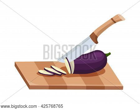 Sliced Vegetable. Slicing Eggplant By Knife. Cutting On Wooden Board Isolated On White Background. P