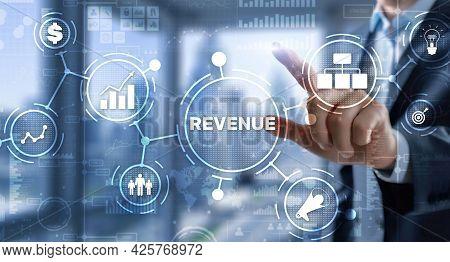 Revenue. Raising Income Concept. The Businessman Plans To Increase His Revenue