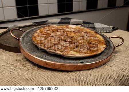 Sweet Brazilian Pizza With Banana, Cinnamon And Sugar, Top View