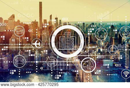 Smart City Concept With The New York City Skyline Near Midtown