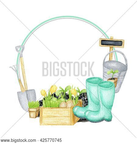Watercolor Garden Tools Round Frame. Hand Drawn, Rake, Bucket, Wood Box, Shovel Wreath Illustration